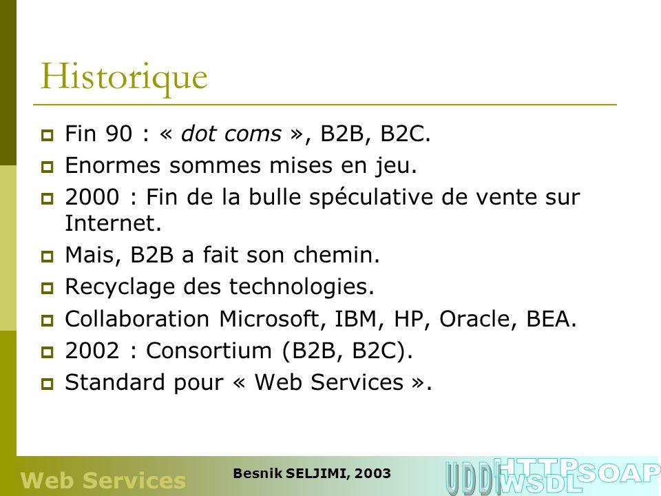 Historique HTTP UDDI SOAP WSDL Fin 90 : « dot coms », B2B, B2C.