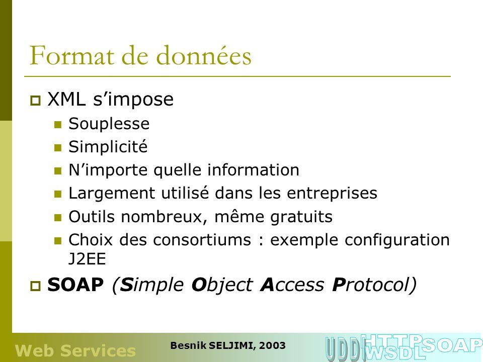 Format de données HTTP UDDI SOAP WSDL XML s'impose