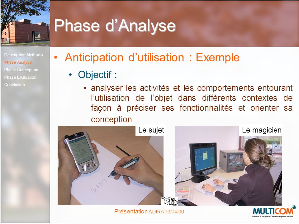 Phase d'Analyse Anticipation d'utilisation : Exemple Objectif :