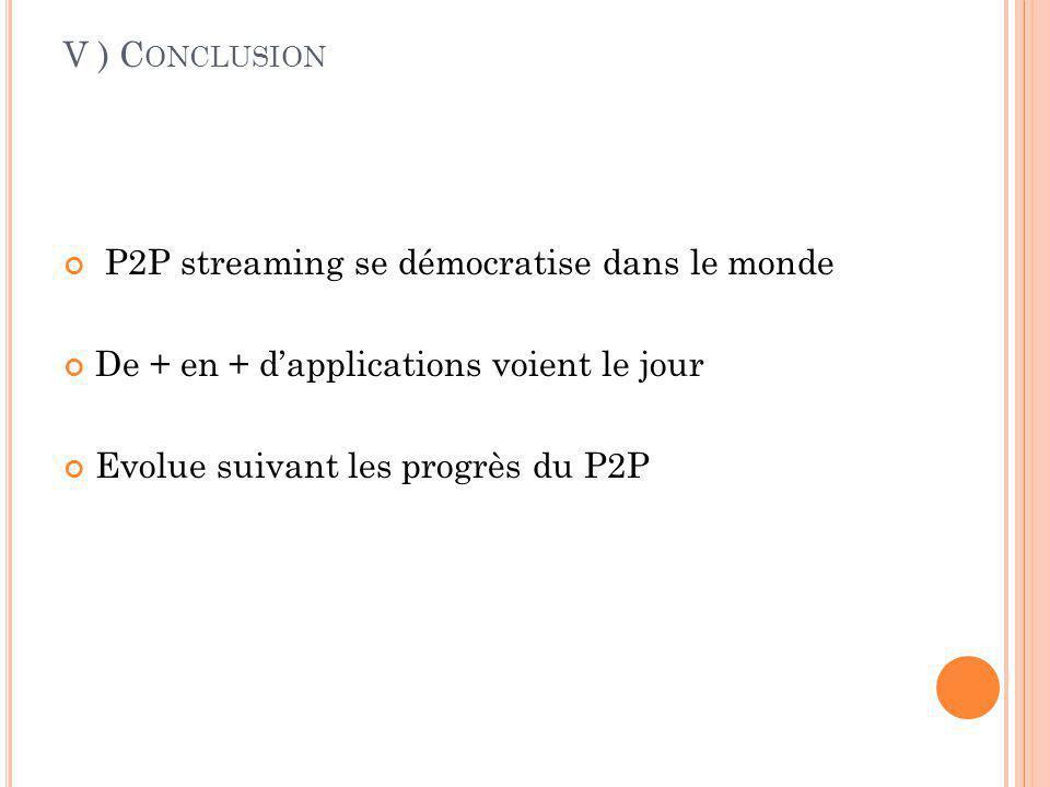 V ) Conclusion P2P streaming se démocratise dans le monde. De + en + d'applications voient le jour.