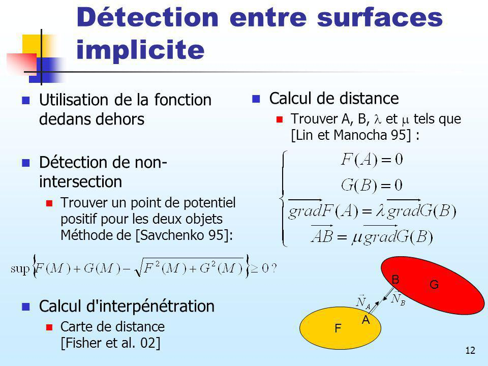 Détection entre surfaces implicite