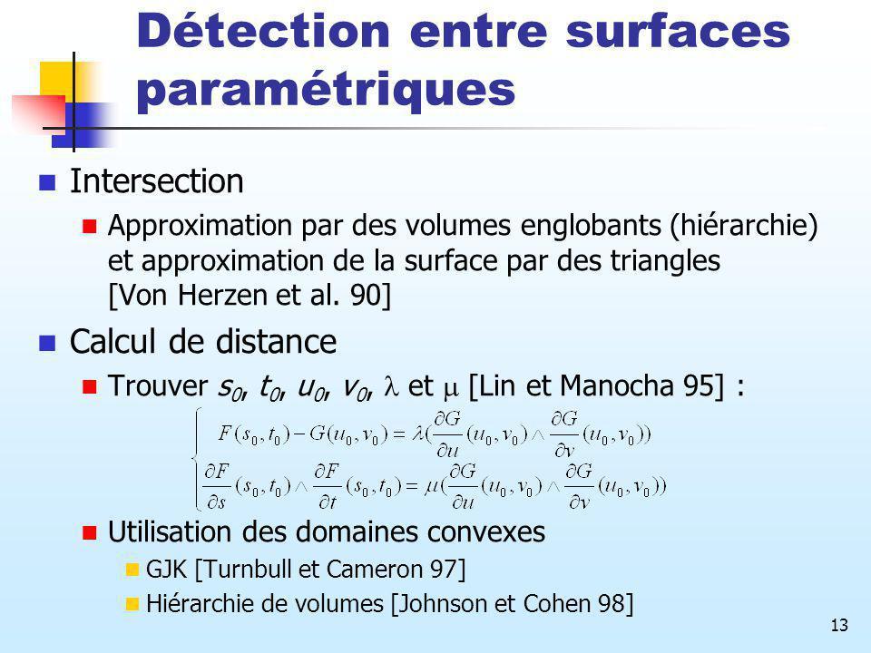 Détection entre surfaces paramétriques
