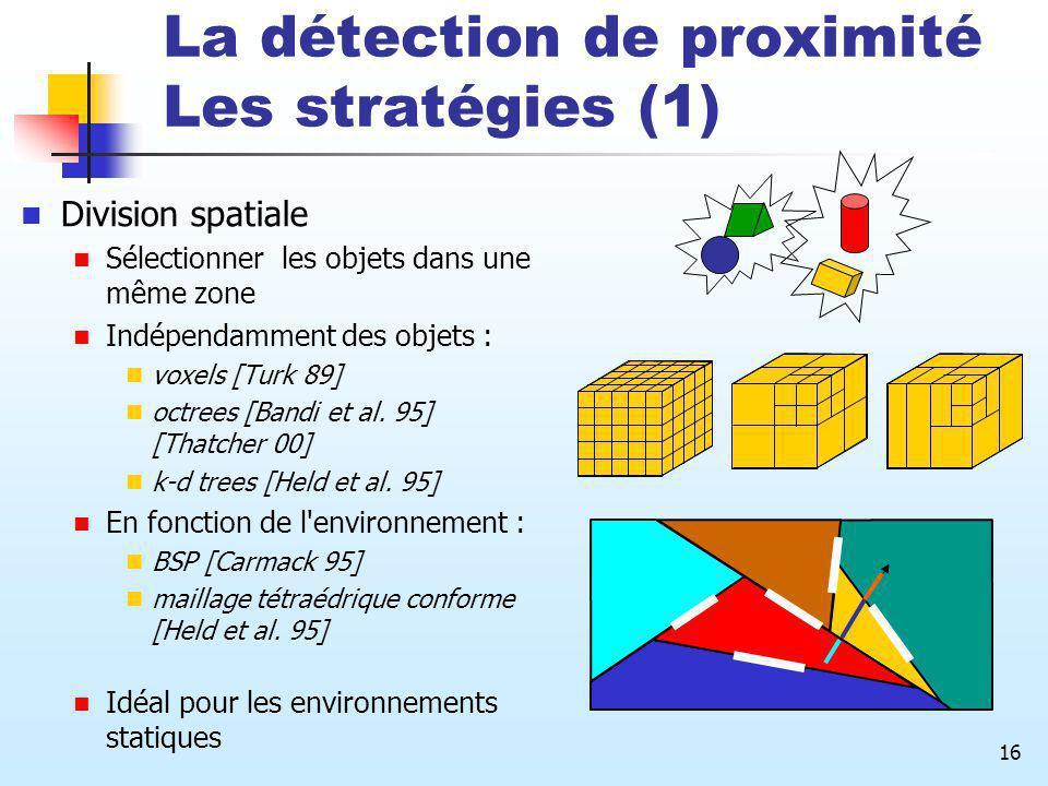La détection de proximité Les stratégies (1)