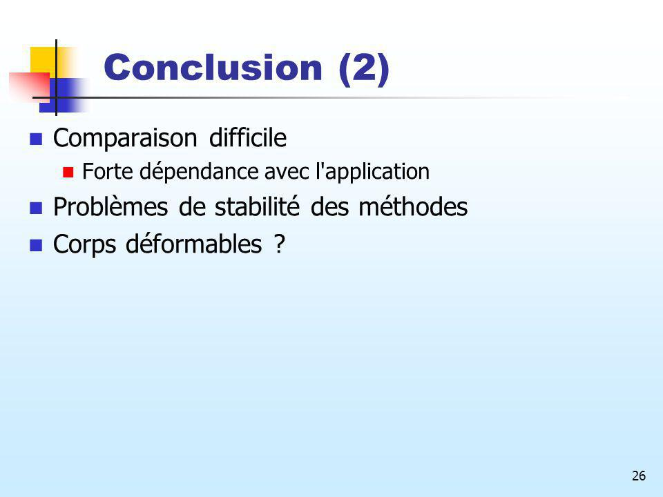 Conclusion (2) Comparaison difficile