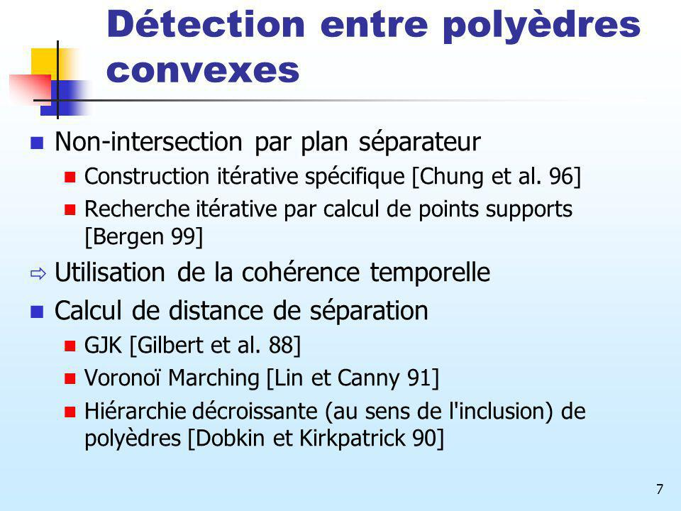 Détection entre polyèdres convexes