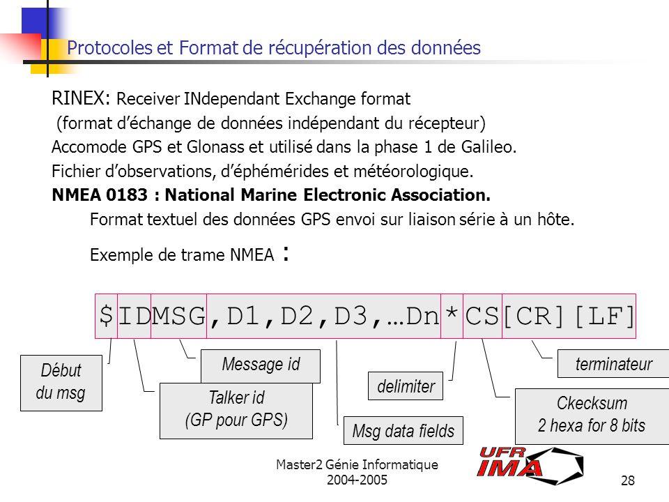 Protocoles et Format de récupération des données