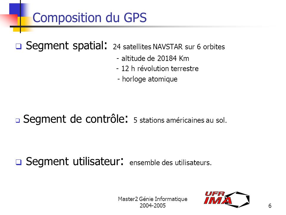 Segment spatial: 24 satellites NAVSTAR sur 6 orbites