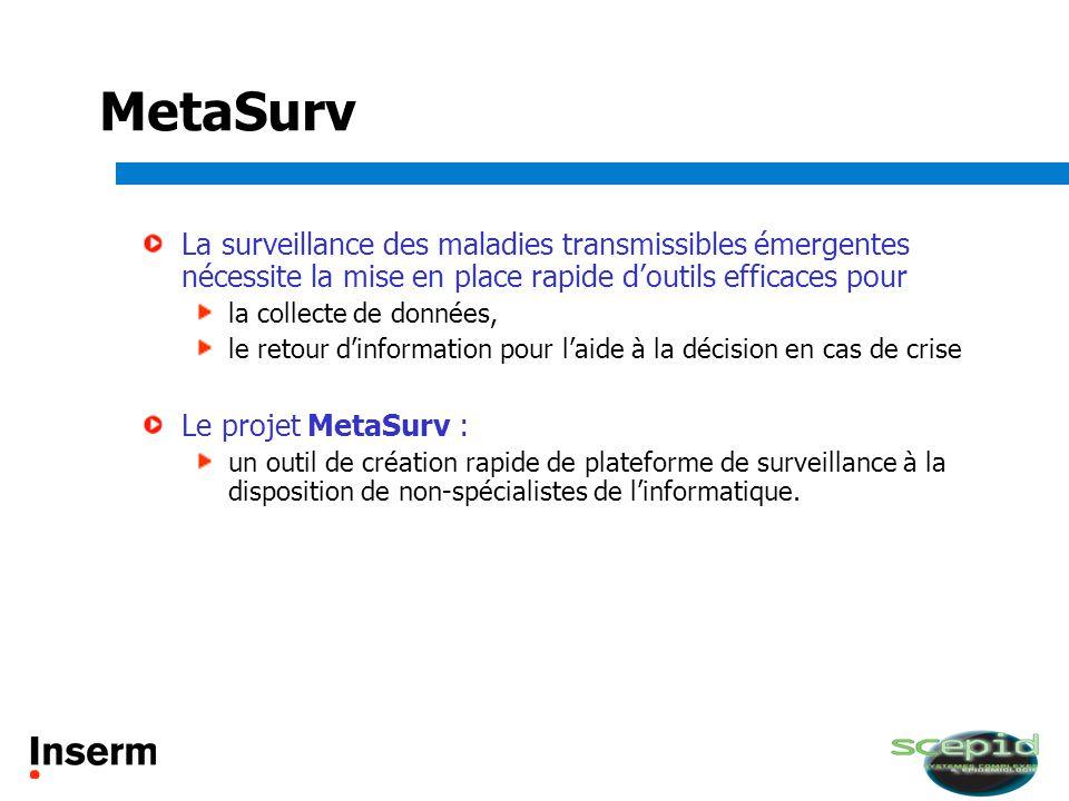 MetaSurv La surveillance des maladies transmissibles émergentes nécessite la mise en place rapide d'outils efficaces pour.