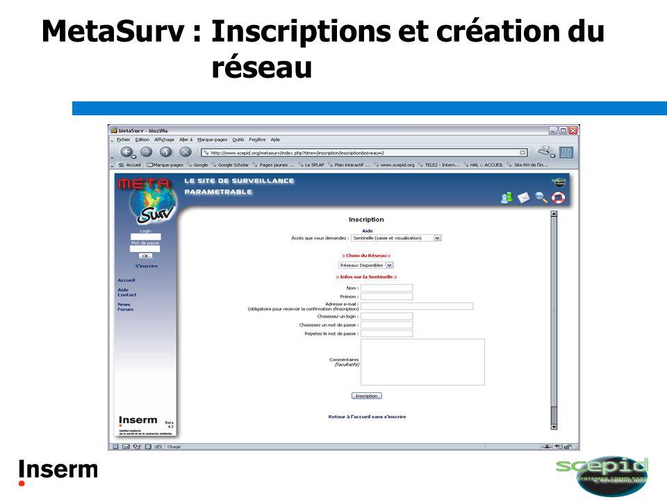 MetaSurv : Inscriptions et création du réseau