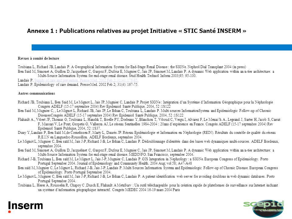 Annexe 1 : Publications relatives au projet Initiative « STIC Santé INSERM »