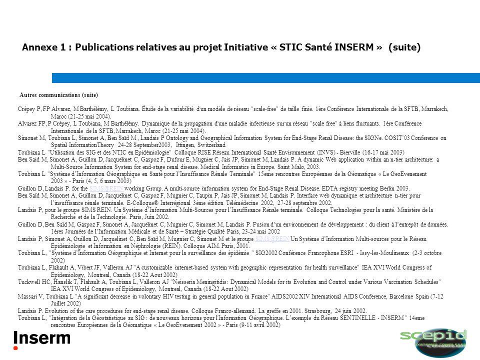 Annexe 1 : Publications relatives au projet Initiative « STIC Santé INSERM » (suite)