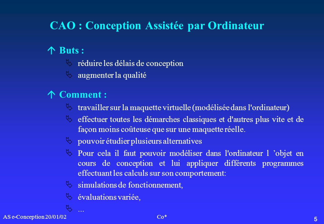 CAO : Conception Assistée par Ordinateur