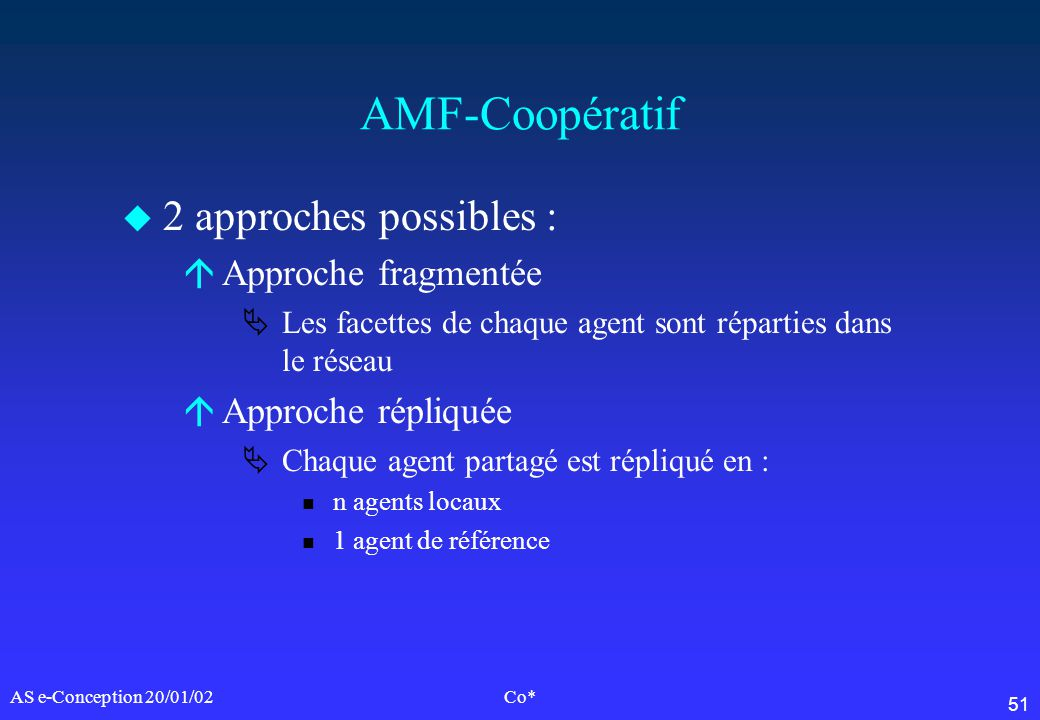 AMF-Coopératif 2 approches possibles : Approche fragmentée