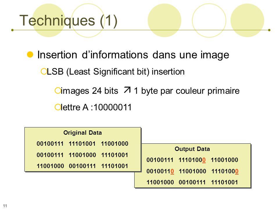 Techniques (1) Insertion d'informations dans une image