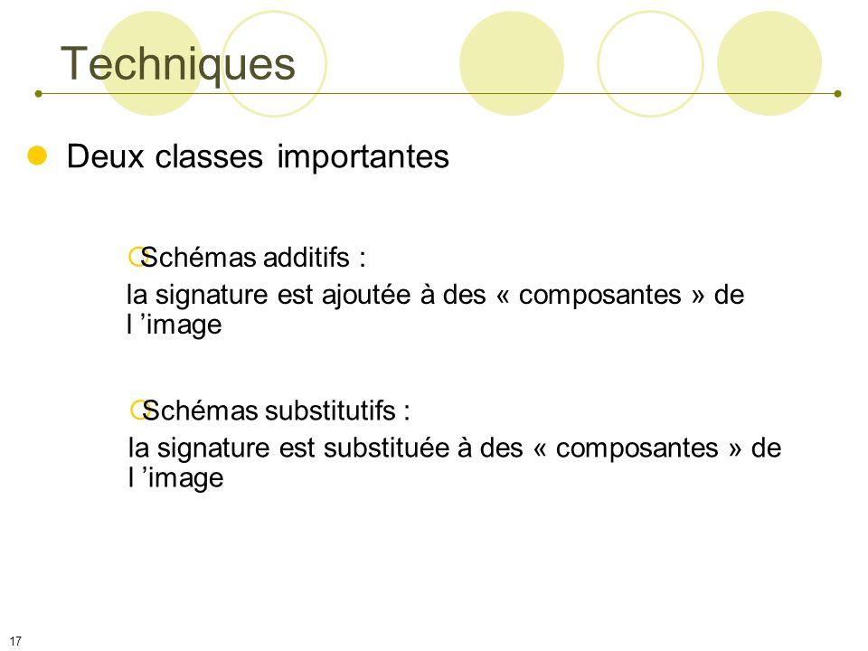 Techniques Deux classes importantes Schémas additifs :