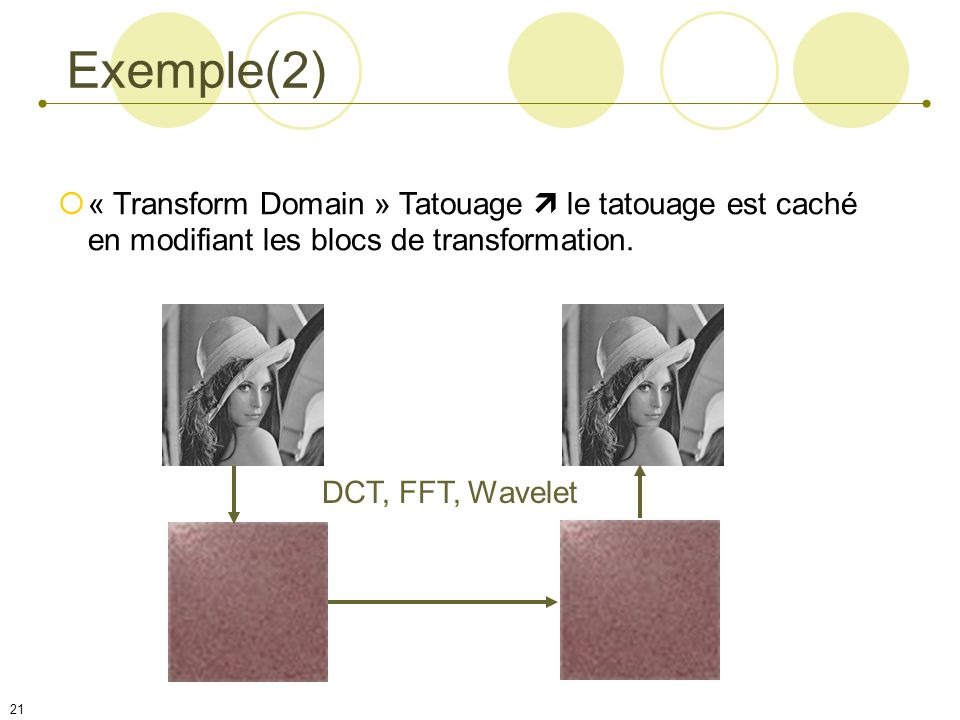 Exemple(2) « Transform Domain » Tatouage  le tatouage est caché en modifiant les blocs de transformation.