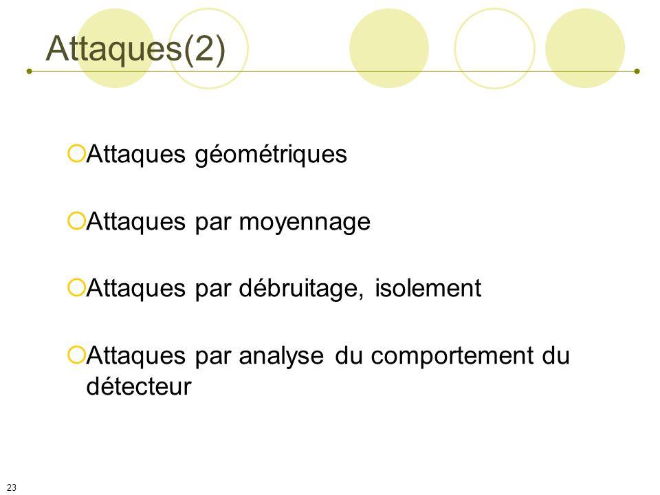 Attaques(2) Attaques géométriques Attaques par moyennage