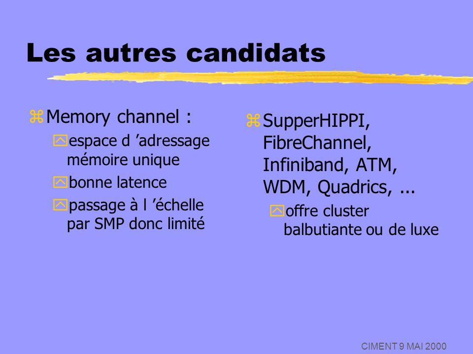 Les autres candidats Memory channel :