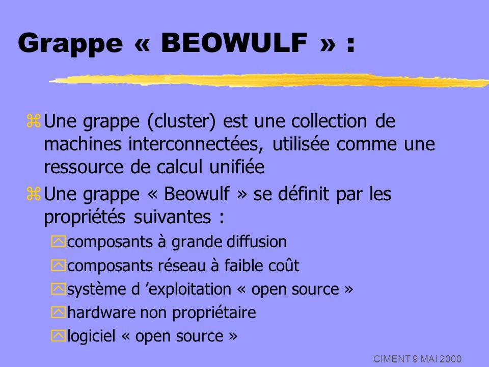 Grappe « BEOWULF » : Une grappe (cluster) est une collection de machines interconnectées, utilisée comme une ressource de calcul unifiée.