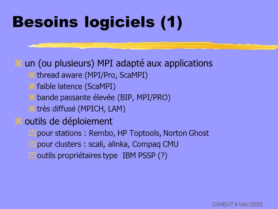 Besoins logiciels (1) un (ou plusieurs) MPI adapté aux applications