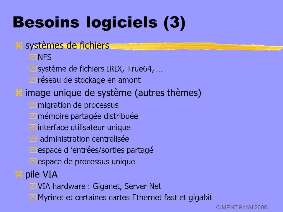Besoins logiciels (3) systèmes de fichiers