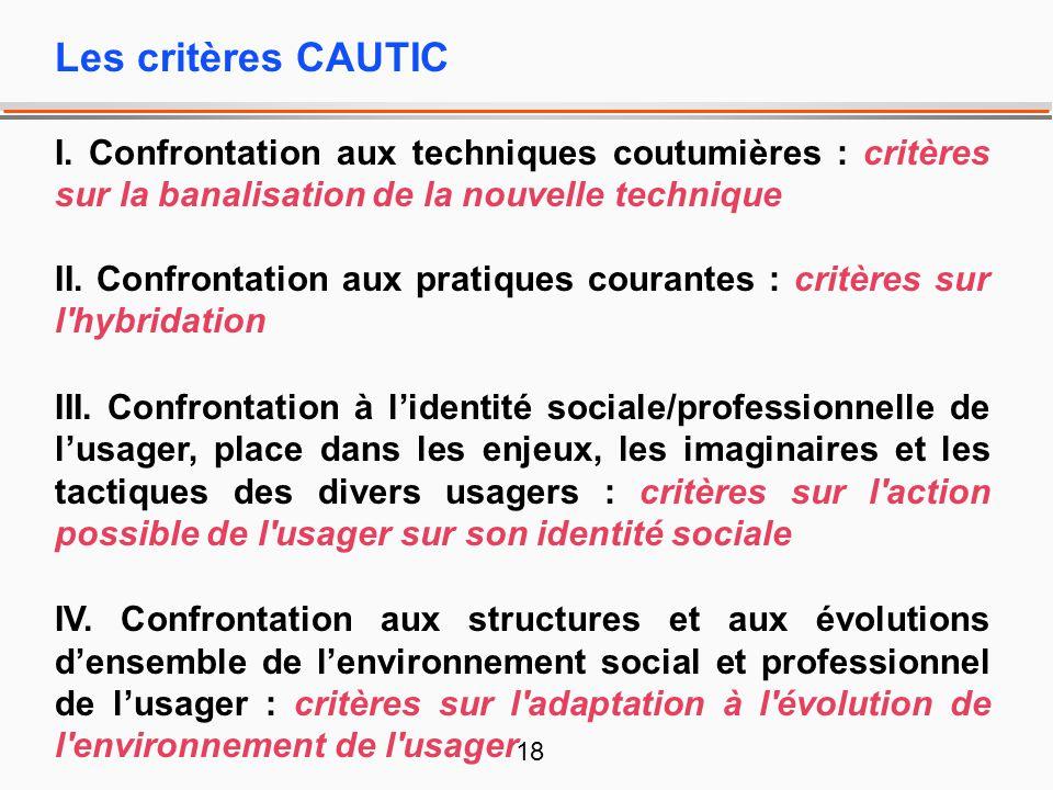 Les critères CAUTIC I. Confrontation aux techniques coutumières : critères sur la banalisation de la nouvelle technique.