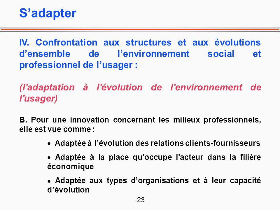 S'adapter IV. Confrontation aux structures et aux évolutions d'ensemble de l'environnement social et professionnel de l'usager :