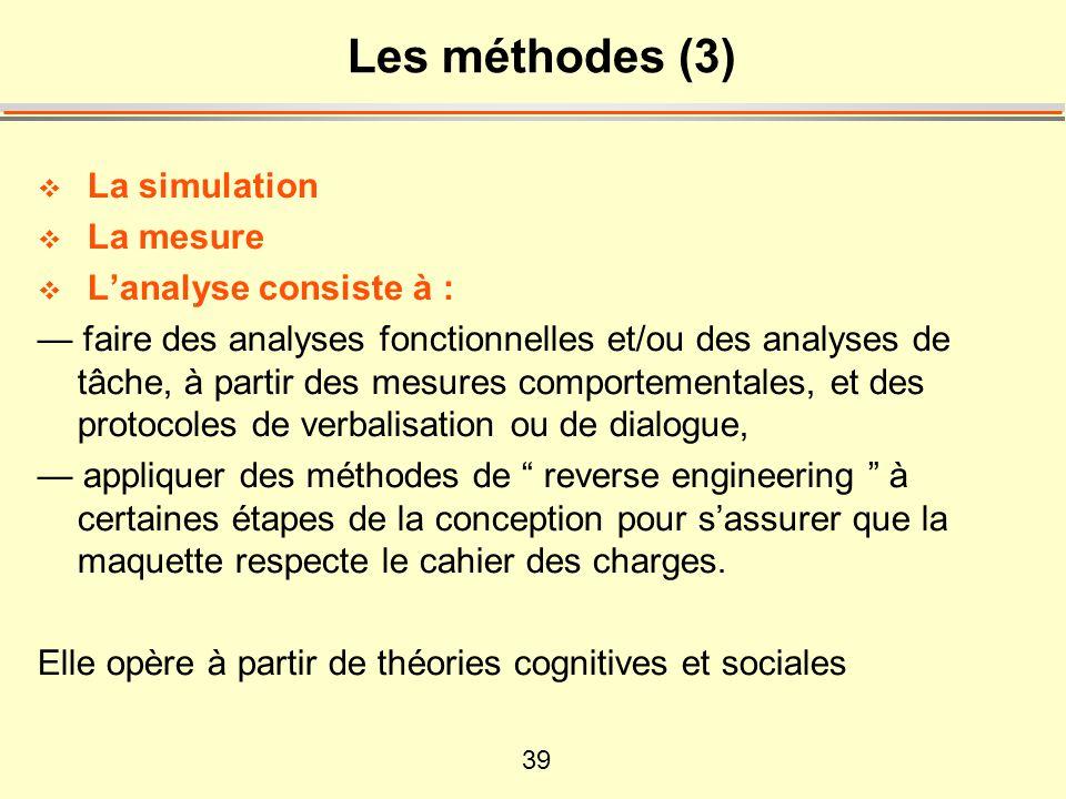 Les méthodes (3) La simulation La mesure L'analyse consiste à :