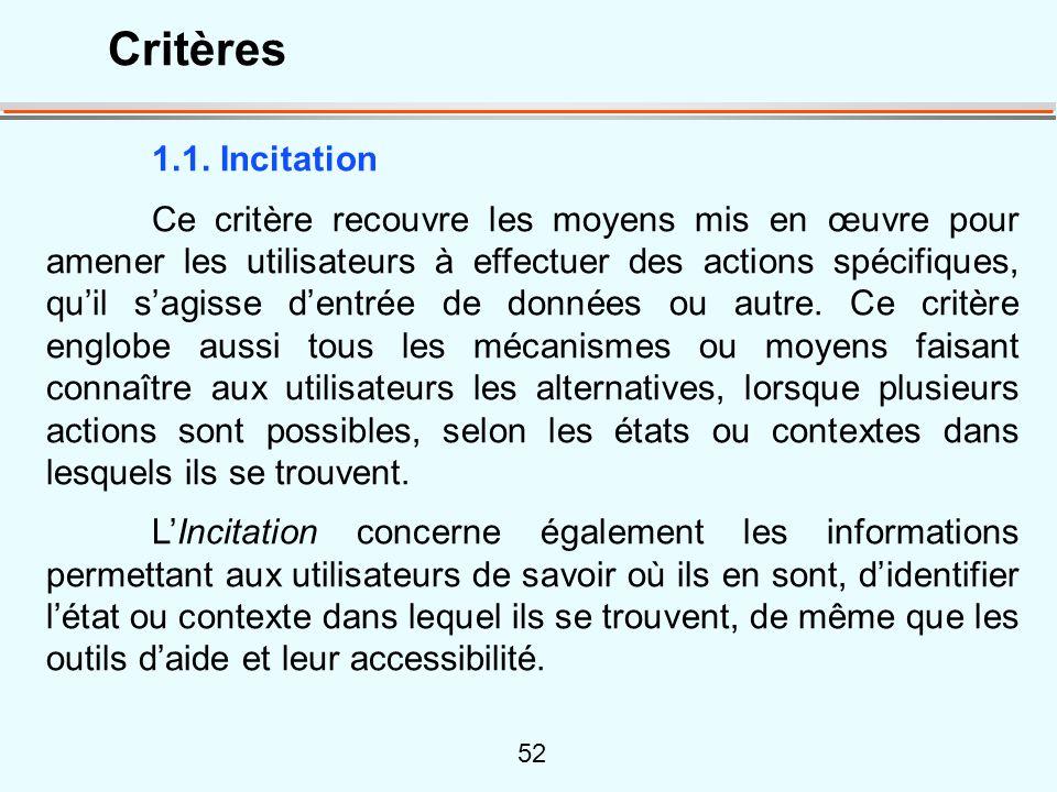 Critères 1.1. Incitation.