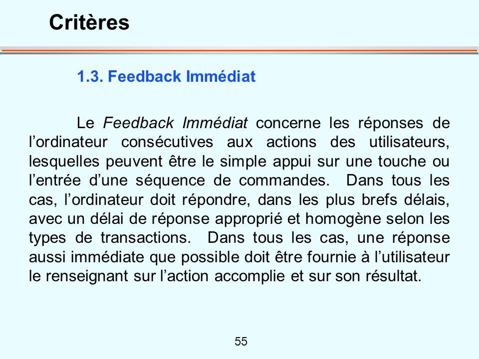 Critères 1.3. Feedback Immédiat