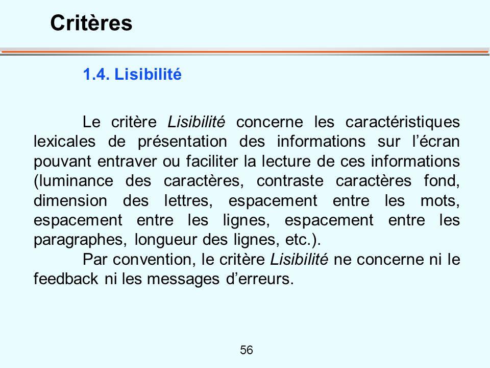 Critères 1.4. Lisibilité.