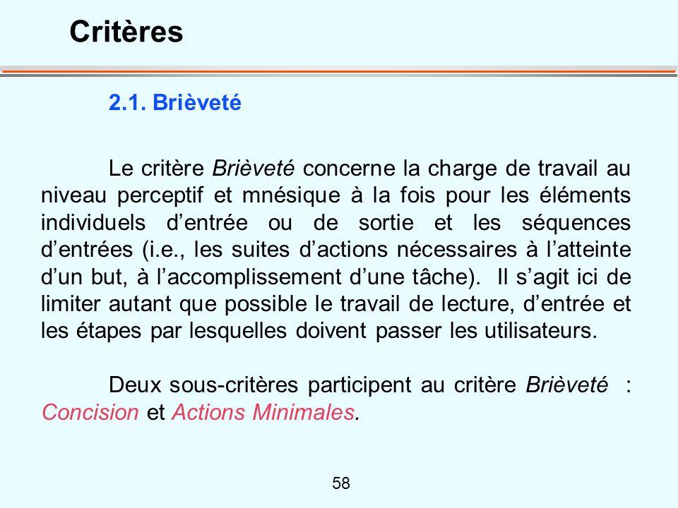 Critères 2.1. Brièveté.