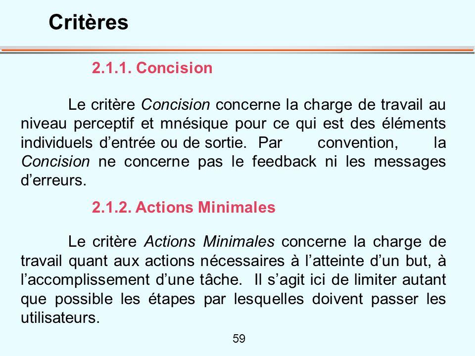 Critères 2.1.1. Concision.