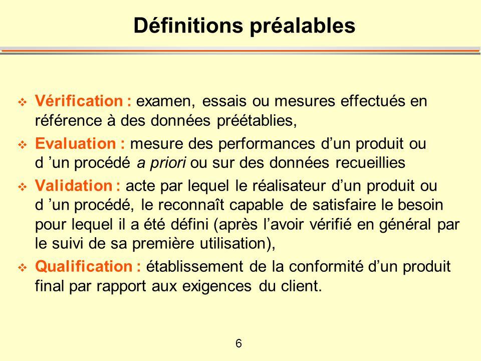 Définitions préalables