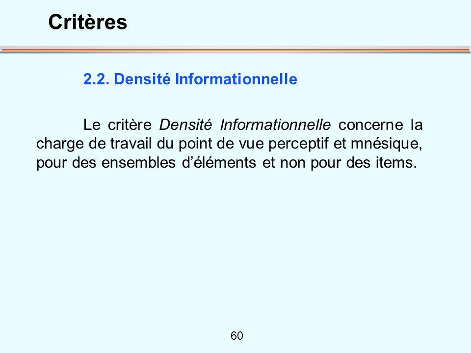 Critères 2.2. Densité Informationnelle