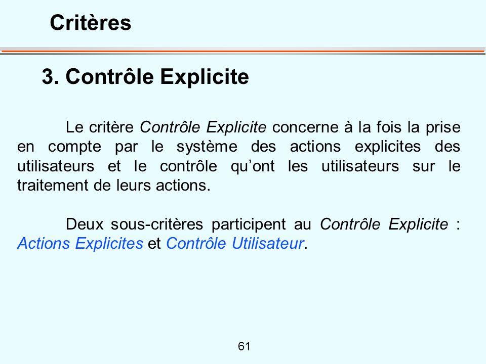 Critères 3. Contrôle Explicite