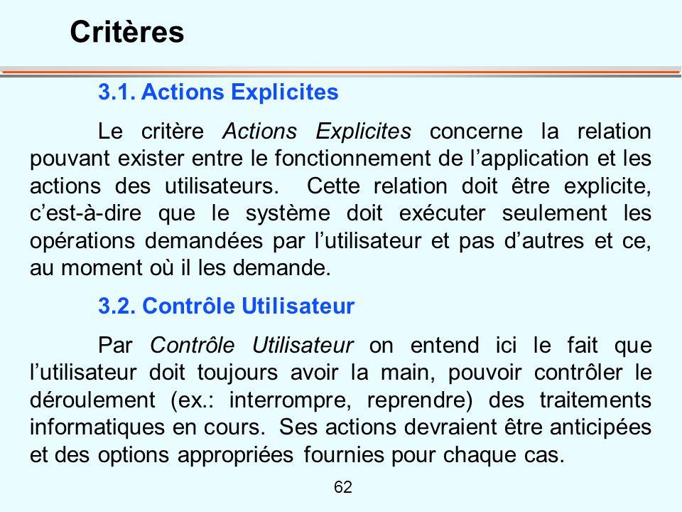 Critères 3.1. Actions Explicites