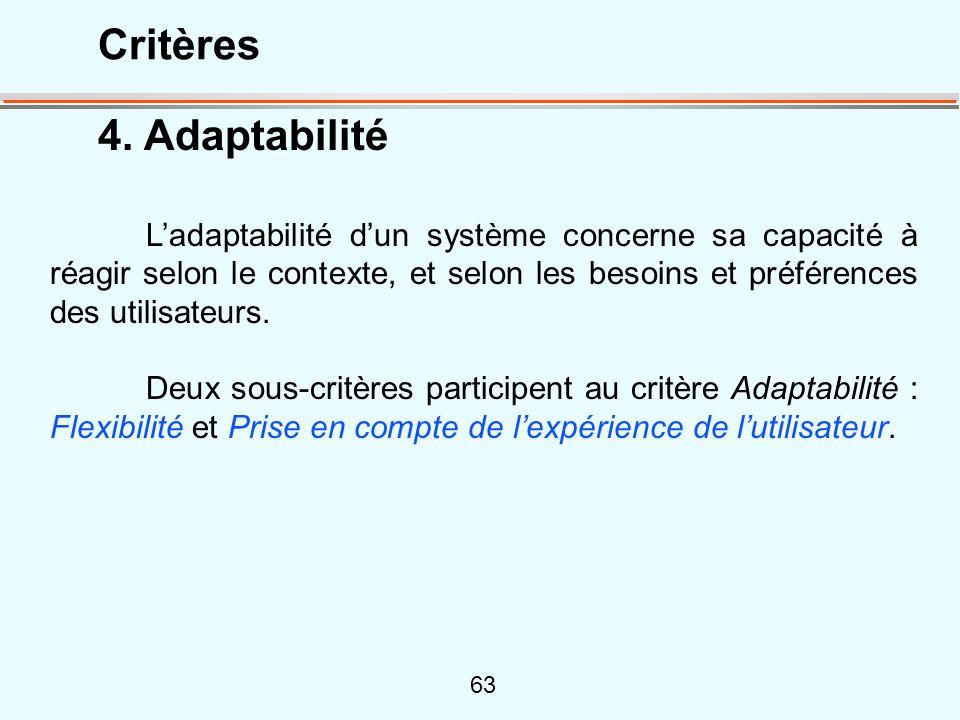 Critères 4. Adaptabilité