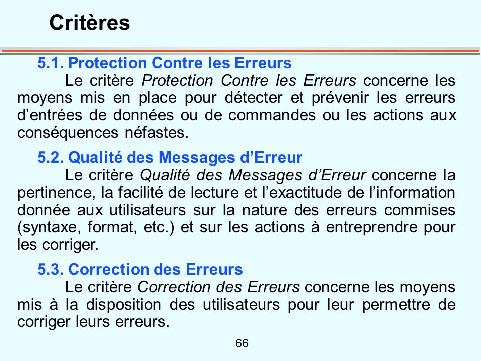 Critères 5.1. Protection Contre les Erreurs