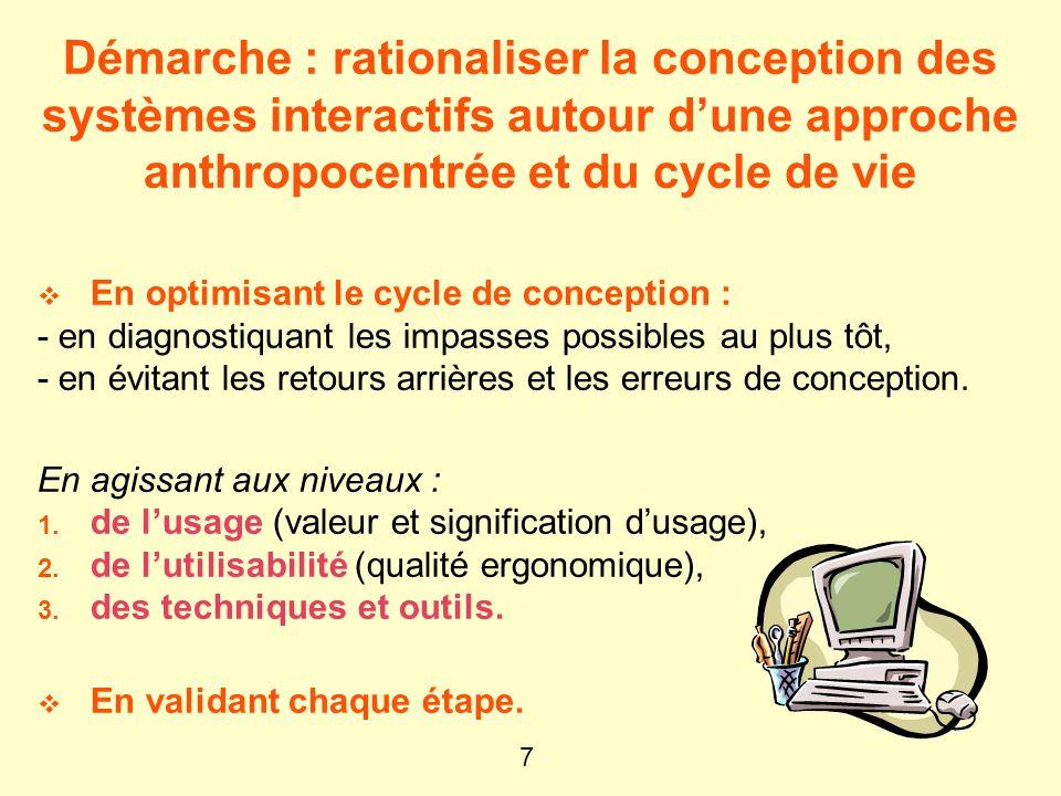 Démarche : rationaliser la conception des systèmes interactifs autour d'une approche anthropocentrée et du cycle de vie