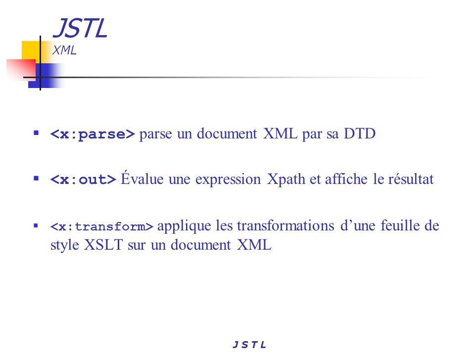 JSTL XML <x:parse> parse un document XML par sa DTD
