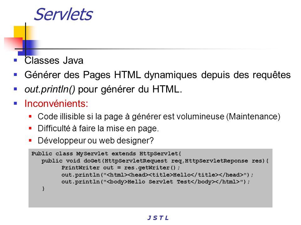 Servlets Classes Java. Générer des Pages HTML dynamiques depuis des requêtes. out.println() pour générer du HTML.