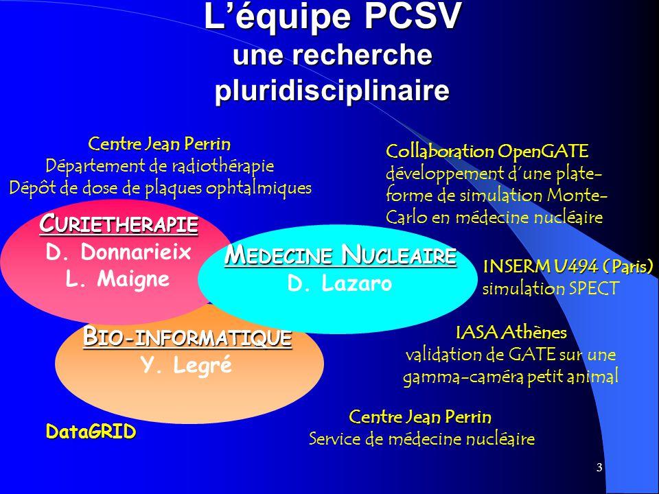 L'équipe PCSV une recherche pluridisciplinaire