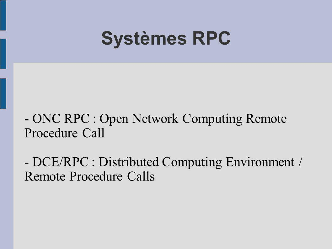 Systèmes RPC - ONC RPC : Open Network Computing Remote Procedure Call