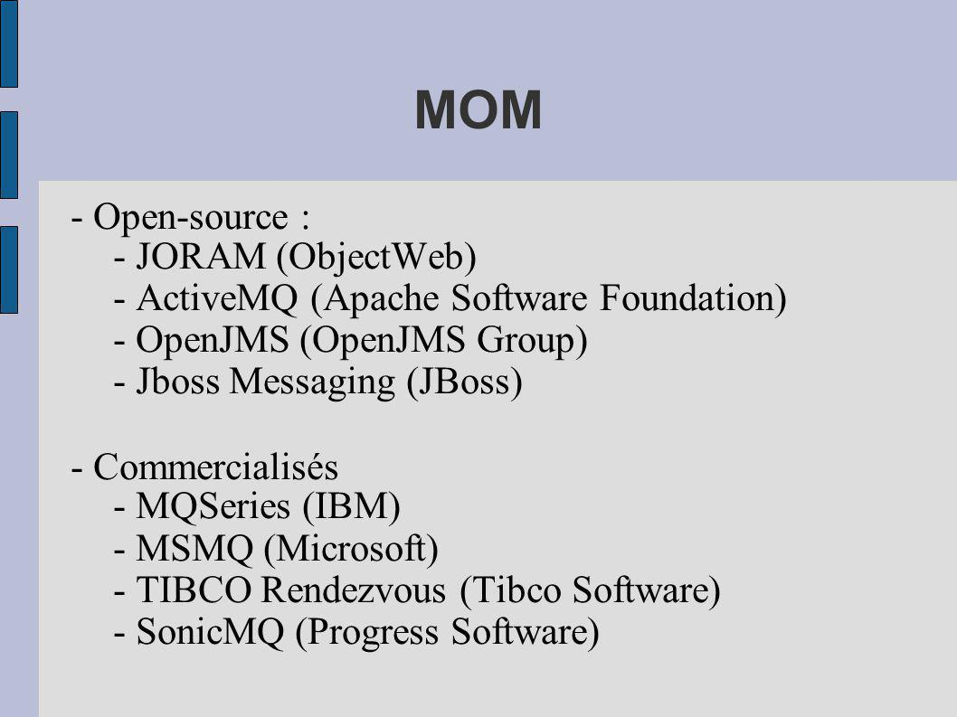 MOM - Open-source : - JORAM (ObjectWeb)‏