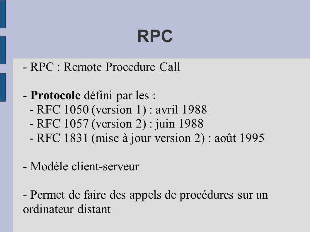 RPC - RPC : Remote Procedure Call - Protocole défini par les :