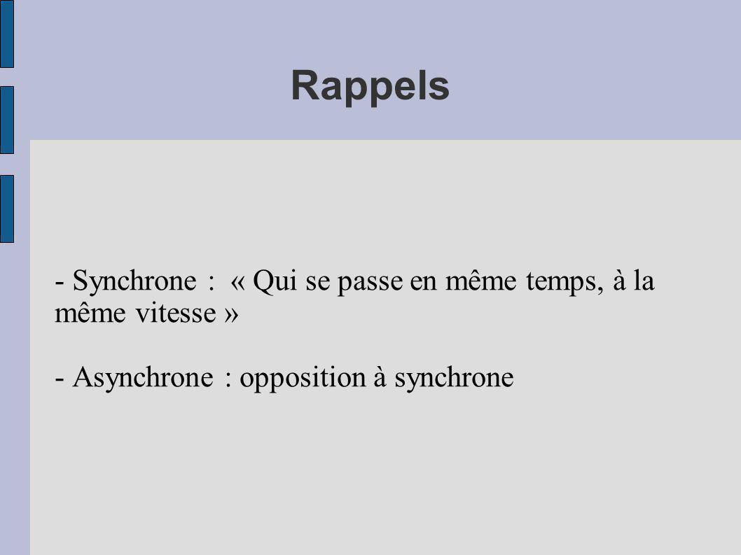 Rappels - Synchrone : « Qui se passe en même temps, à la même vitesse » - Asynchrone : opposition à synchrone.