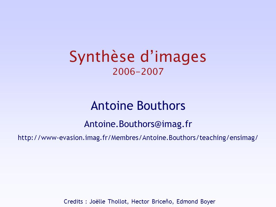 Synthèse d images : introduction