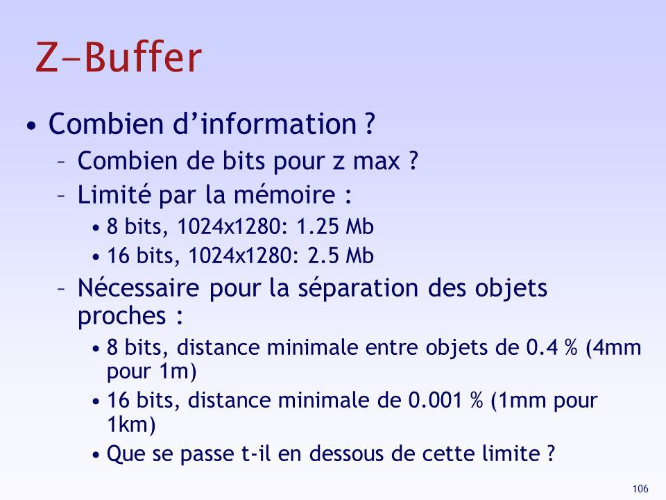 Z-Buffer Combien d'information Combien de bits pour z max