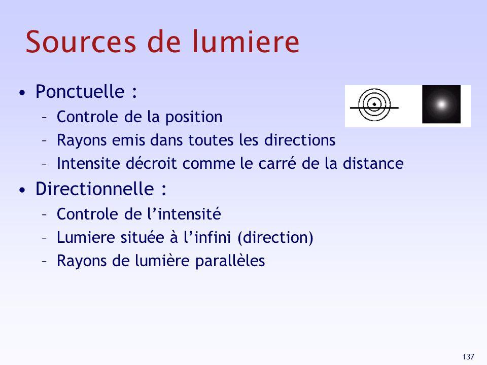 Sources de lumiere Ponctuelle : Directionnelle :